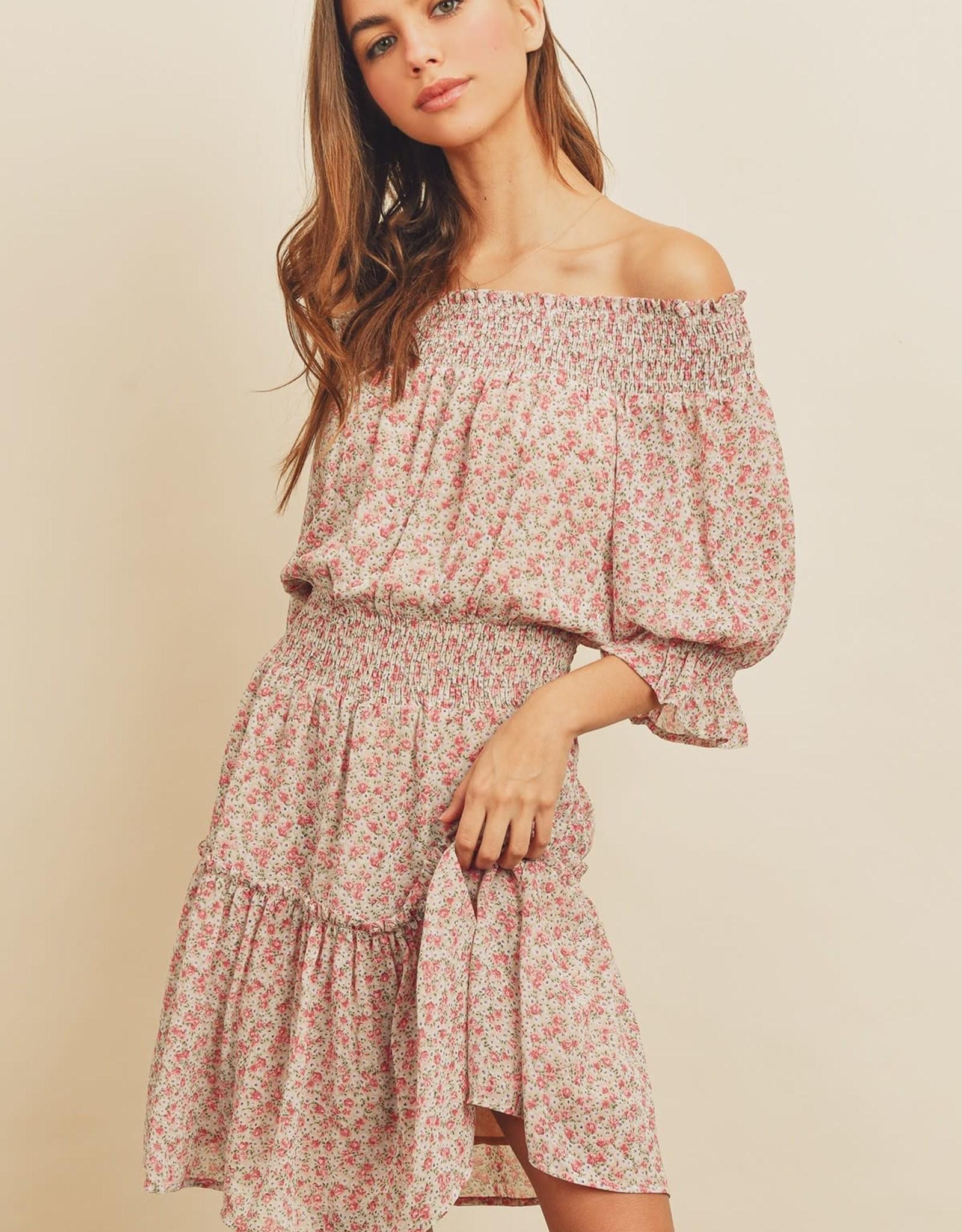 Miss Bliss Smocked Off Shoulder Dress- Multi