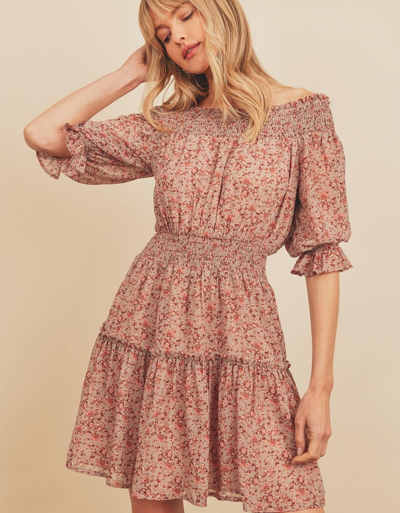 Miss Bliss Ruffle Sleeve Off Shoulder Dress- Rose