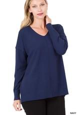 Miss Bliss Hi-Low V Neck Sweater- Navy