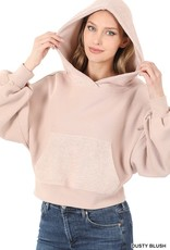 Miss Bliss French Terry Drop Shoulder Hoodie- Dusty Blush