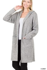 Miss Bliss Hooded Open Front Cardigan- Heather Grey