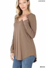 Miss Bliss Luxe Rayon LS V Neck- Mocha