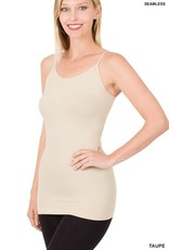 Miss Bliss Seamless Adjustable Strap Cami- Taupe