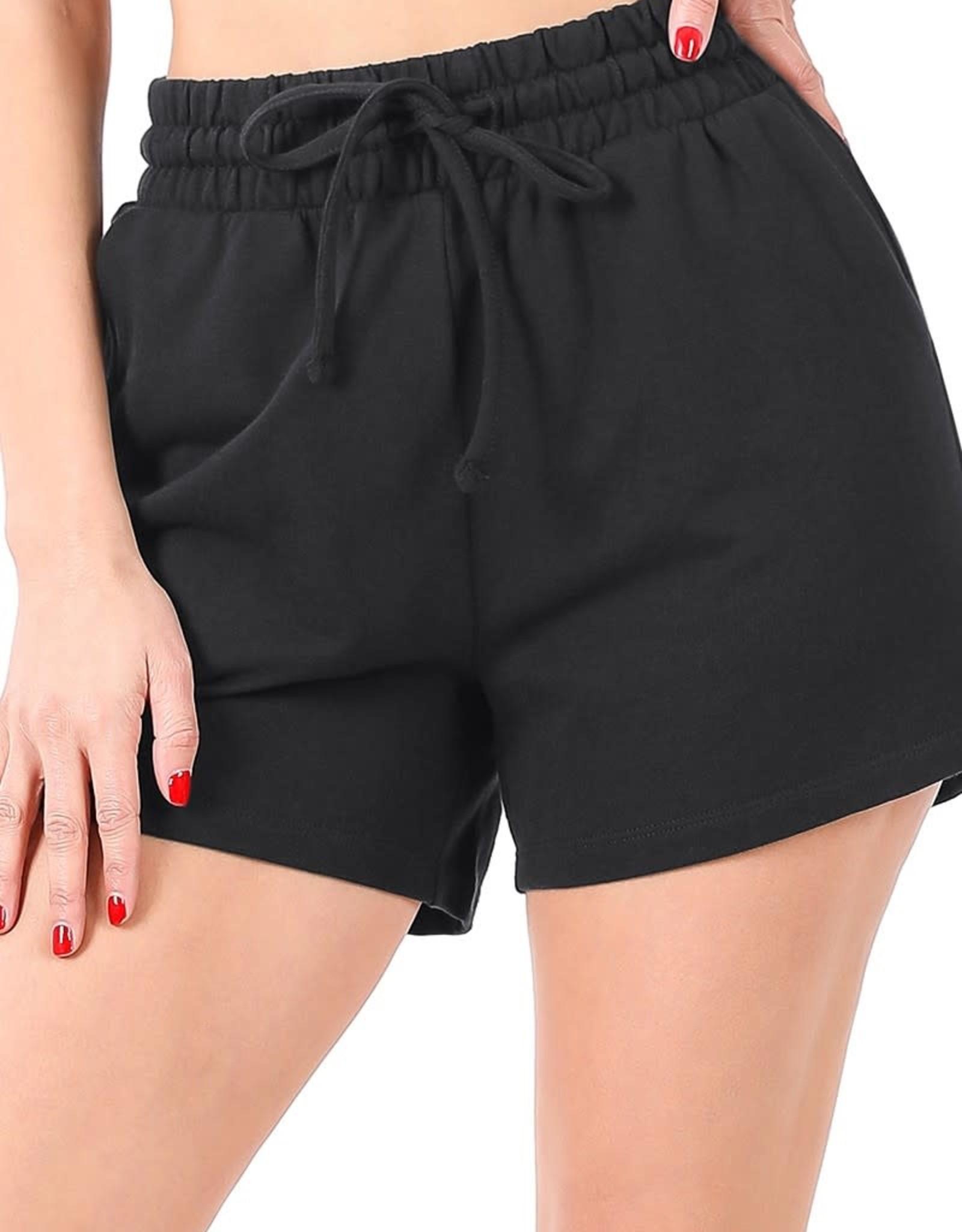 Miss Bliss French Terry Drawstring Shorts- Black