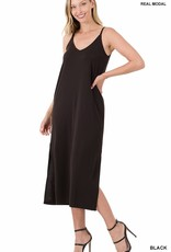 Miss Bliss Modal V Neck Cami Midi Dress- Black