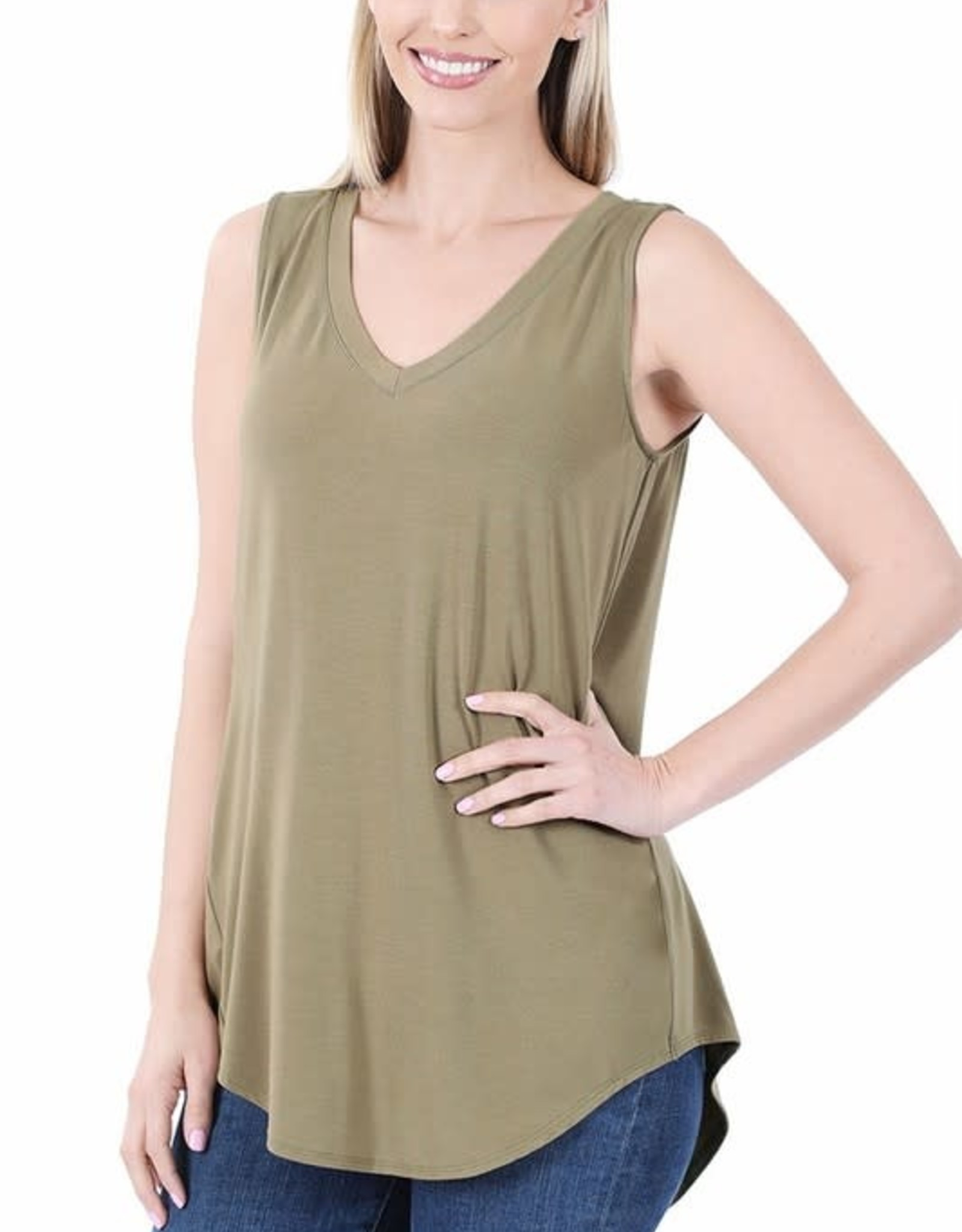 Miss Bliss Luxe Rayon Slvls V Neck-