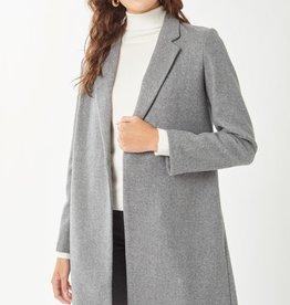 Miss Bliss Fleece Long Line Coat- Grey