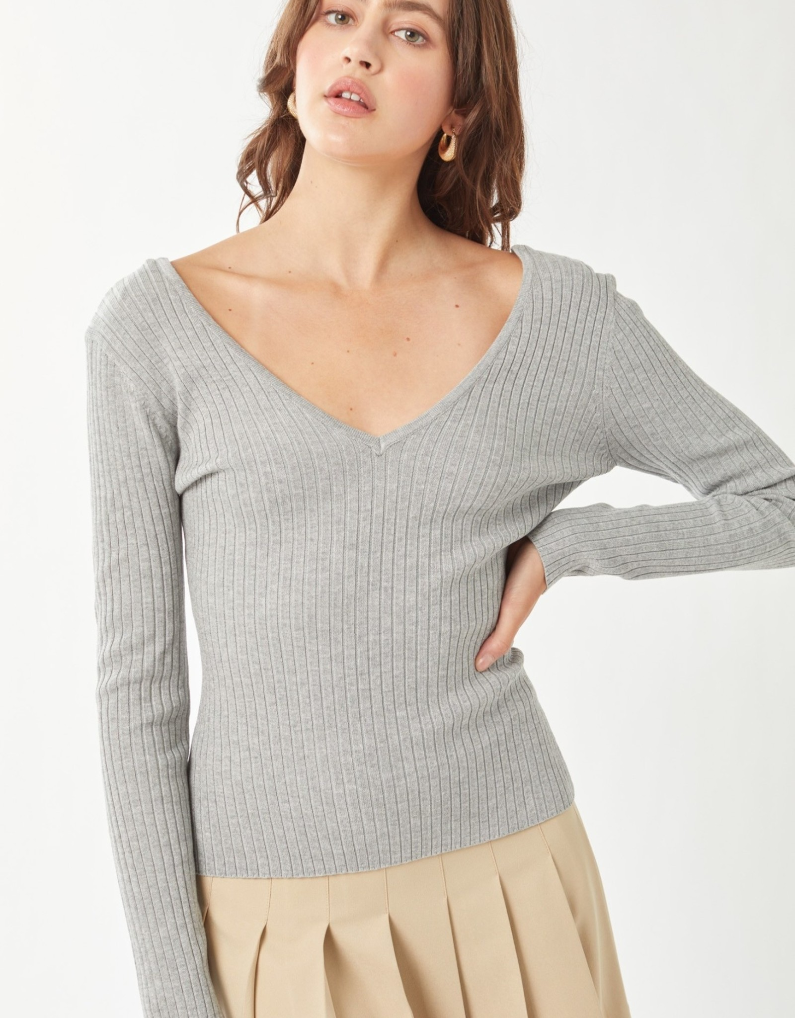Miss Bliss LS V Neck Sweater Top-