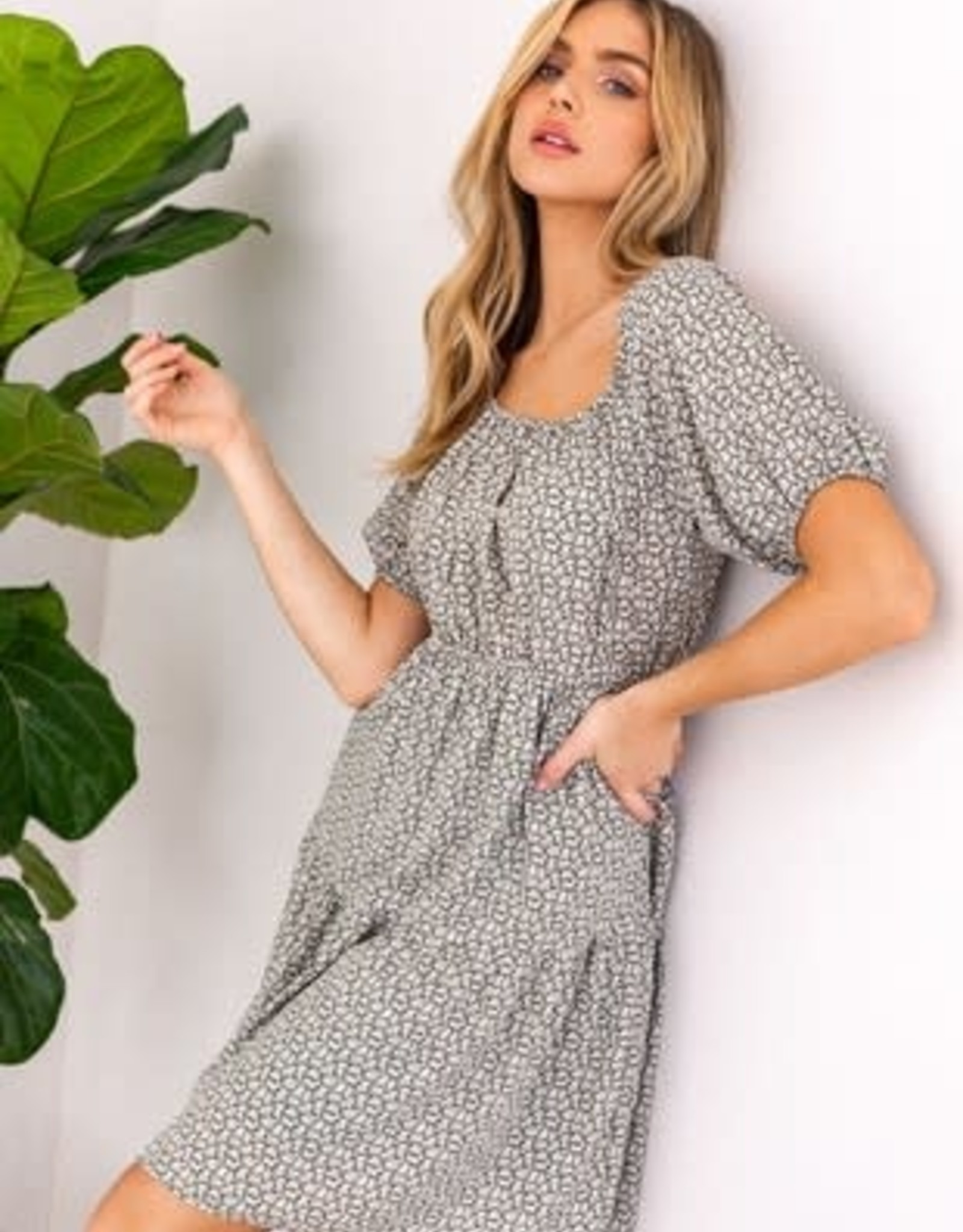 Miss Bliss Floral Print Puff Sleeve Dress- Olive