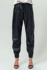 Miss Bliss Faux Leather Joggers- Black