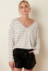 Miss Bliss Striped V Neck LS Top- Charcoal