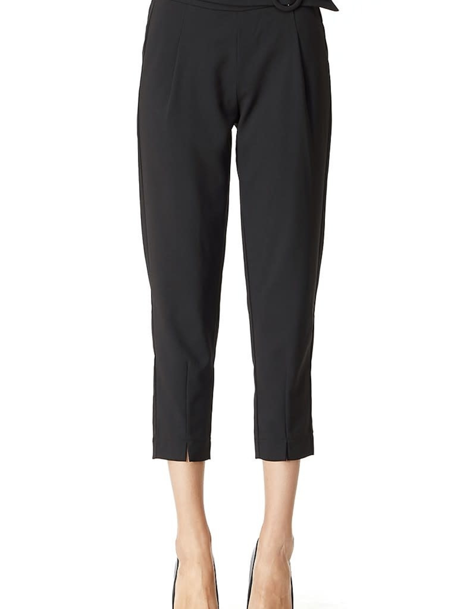 Miss Bliss Cropped Belted Pants- Black