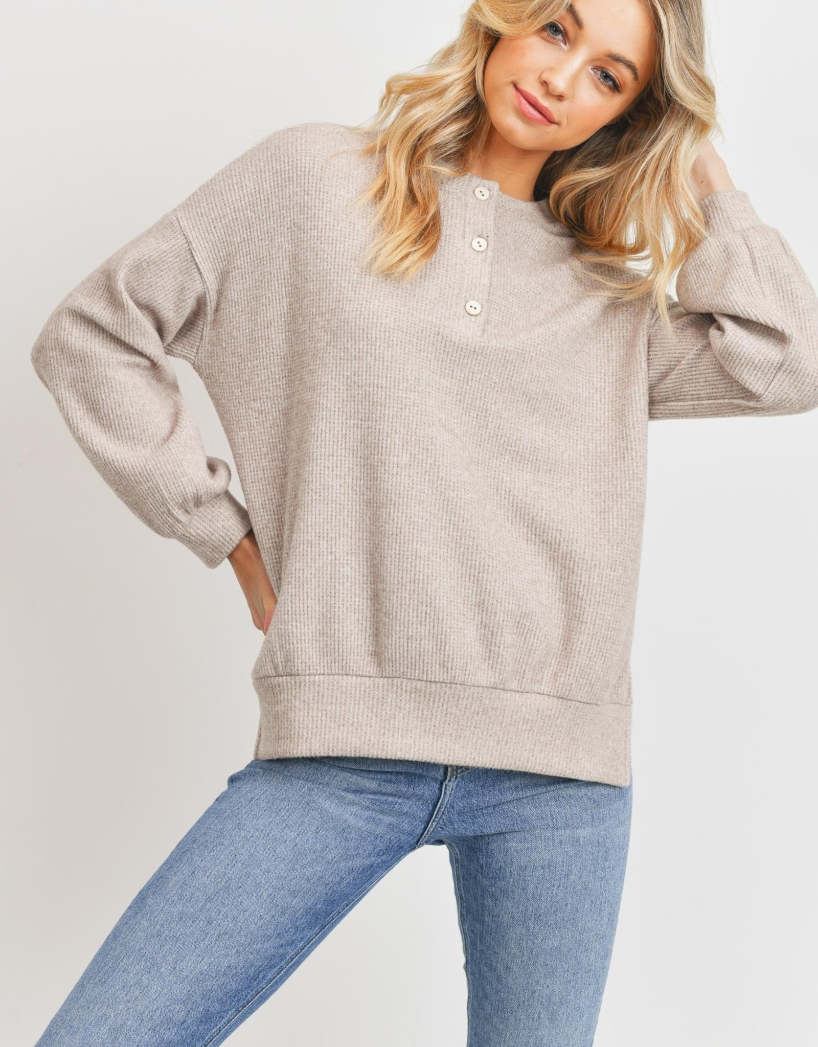 Miss Bliss Balloon Sleeve Henley Thermal Top- Taupe