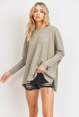 Miss Bliss Boxy Fit Round Neck Thermal Top- Olive