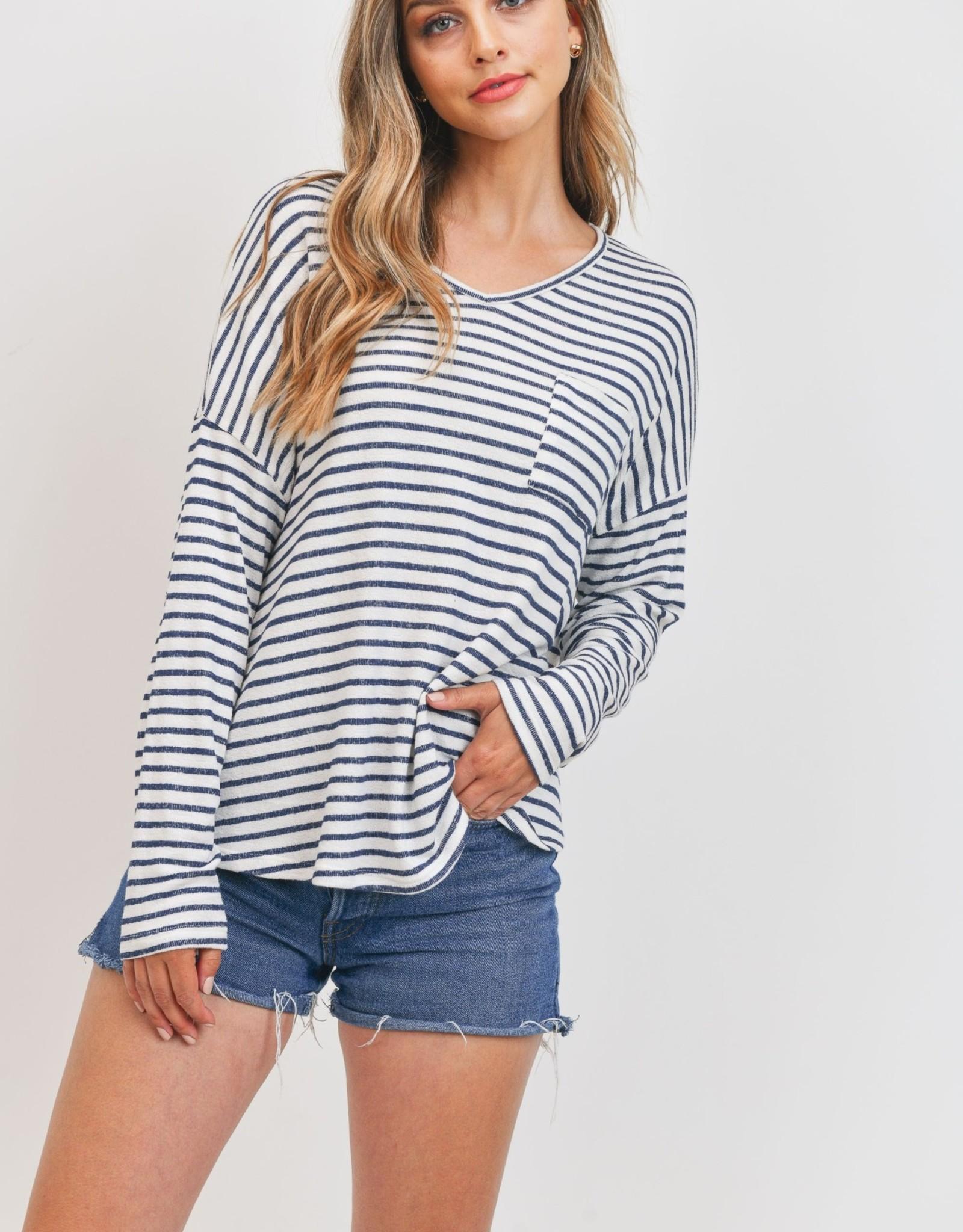 Miss Bliss LS V Neck Striped Knit Top- Navy