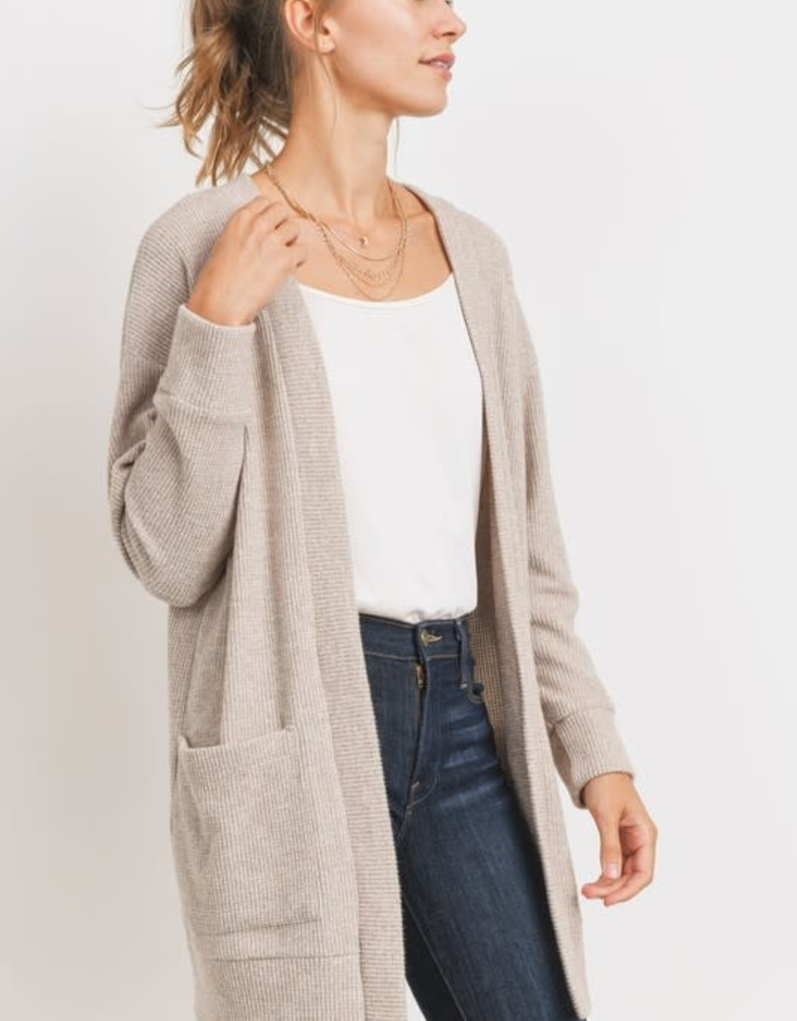 Miss Bliss Brushed Thermal Cardigan- Taupe