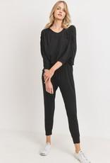 Miss Bliss Dolman Sleeve Jersey Jumpsuit- Black