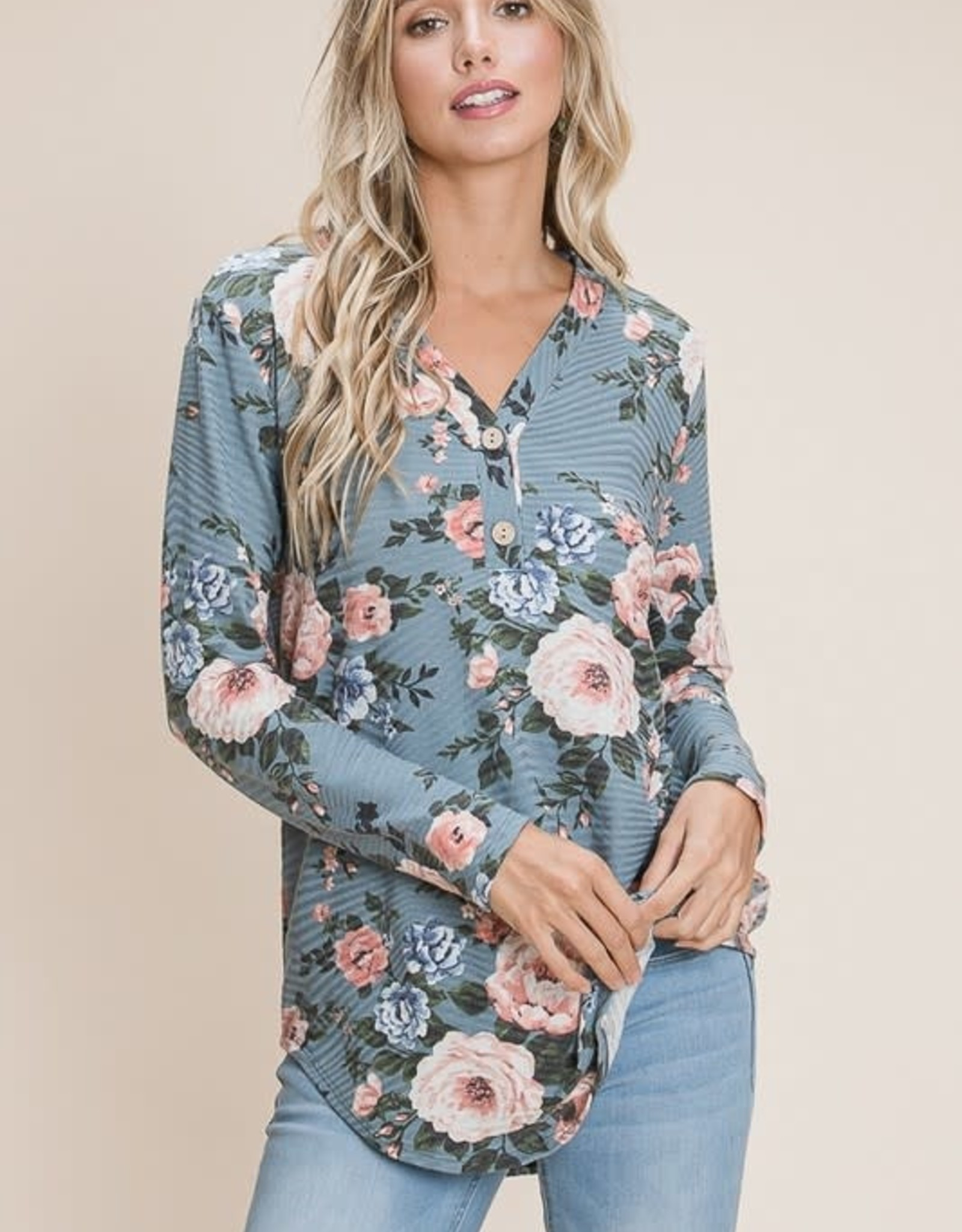 Miss Bliss Floral Print LS Top- Denim