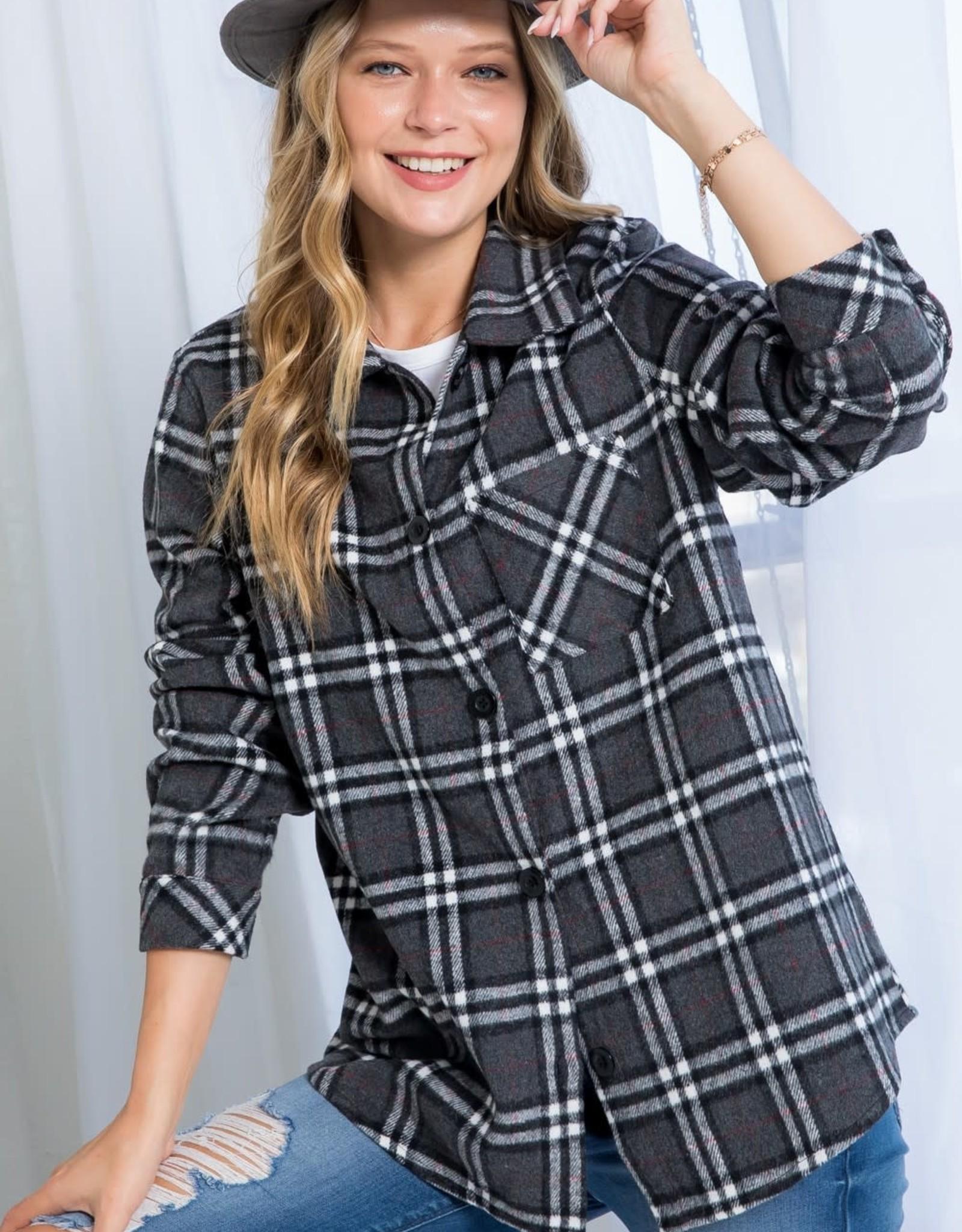 Miss Bliss Plaid Button Up Shirt- Charcoal