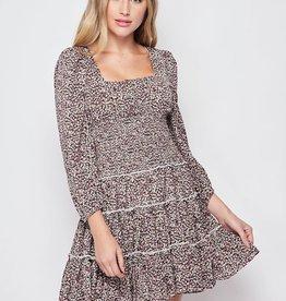 Miss Bliss Floral Smock Waist Dress- Lavender