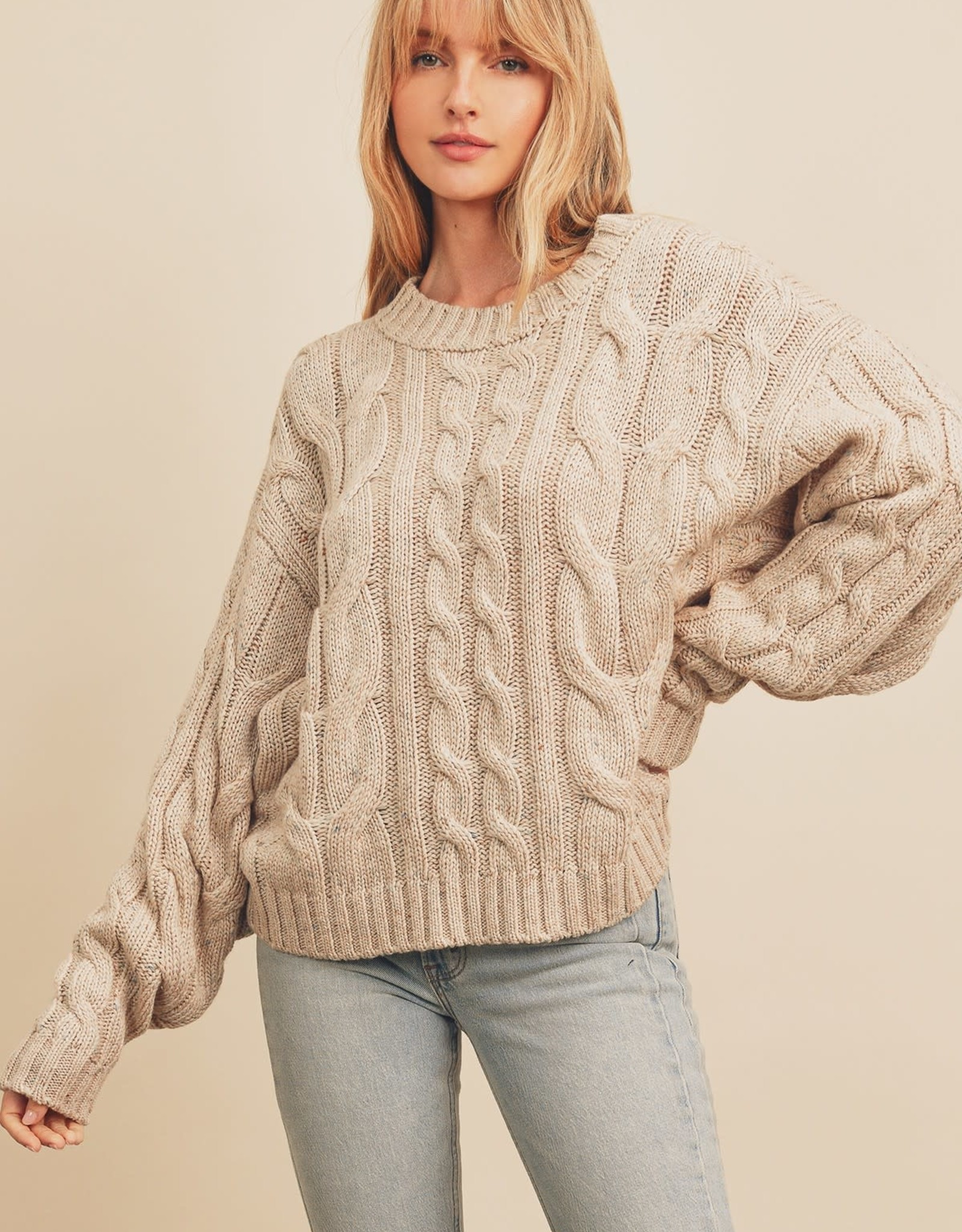 Miss Bliss Cable Knit Oversized Sweater- Oatmeal