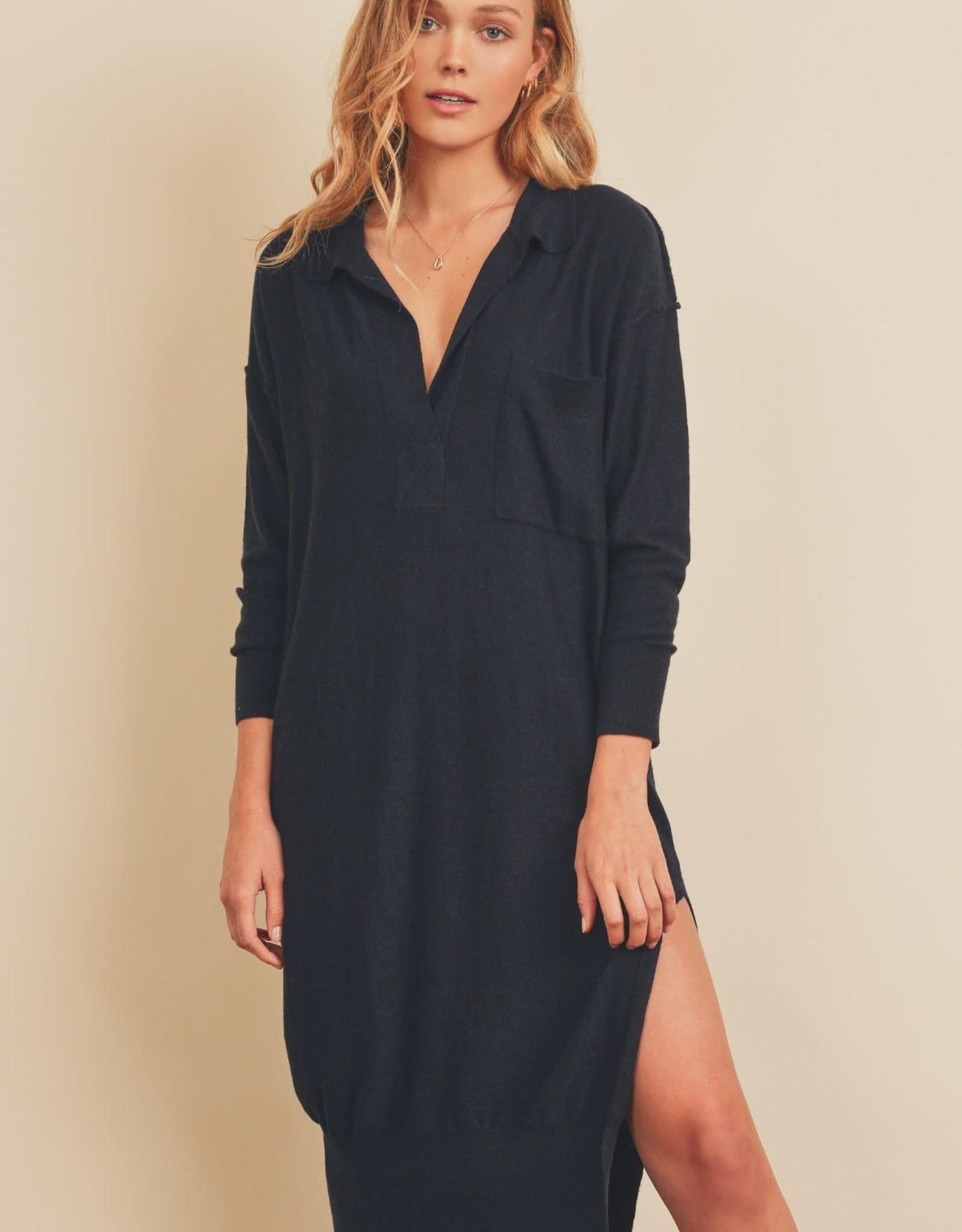 Miss Bliss Knit Polo Pocket Midi Dress- Navy
