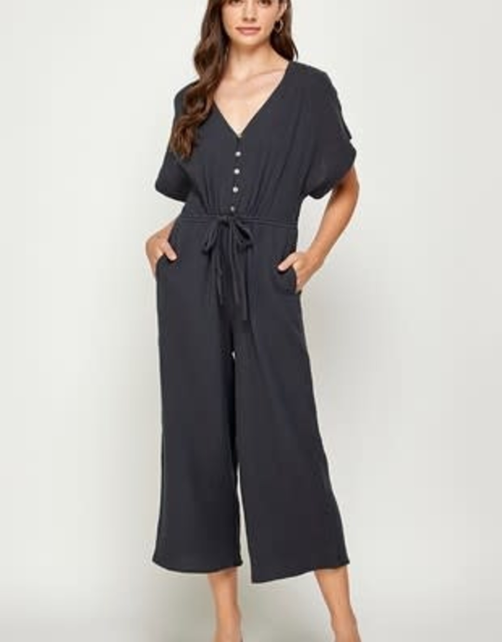 Miss Bliss Button Detail SS Romper- Charcoal