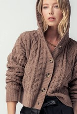 Miss Bliss Chunky Cable Knit Hooded Cardigan- Coco Brown