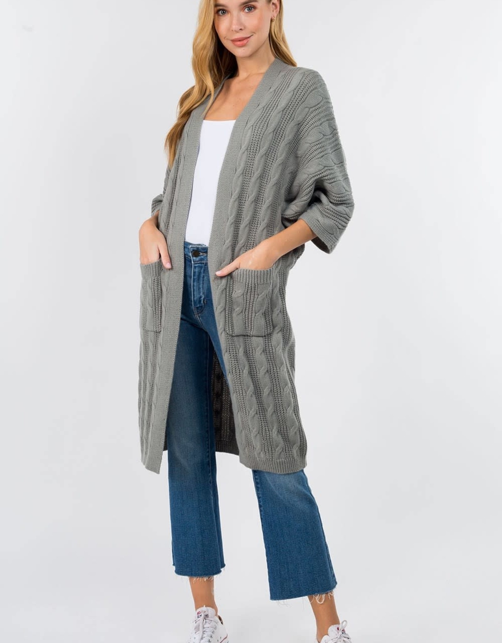 Miss Bliss Textured Long Line Cardigan- Sage