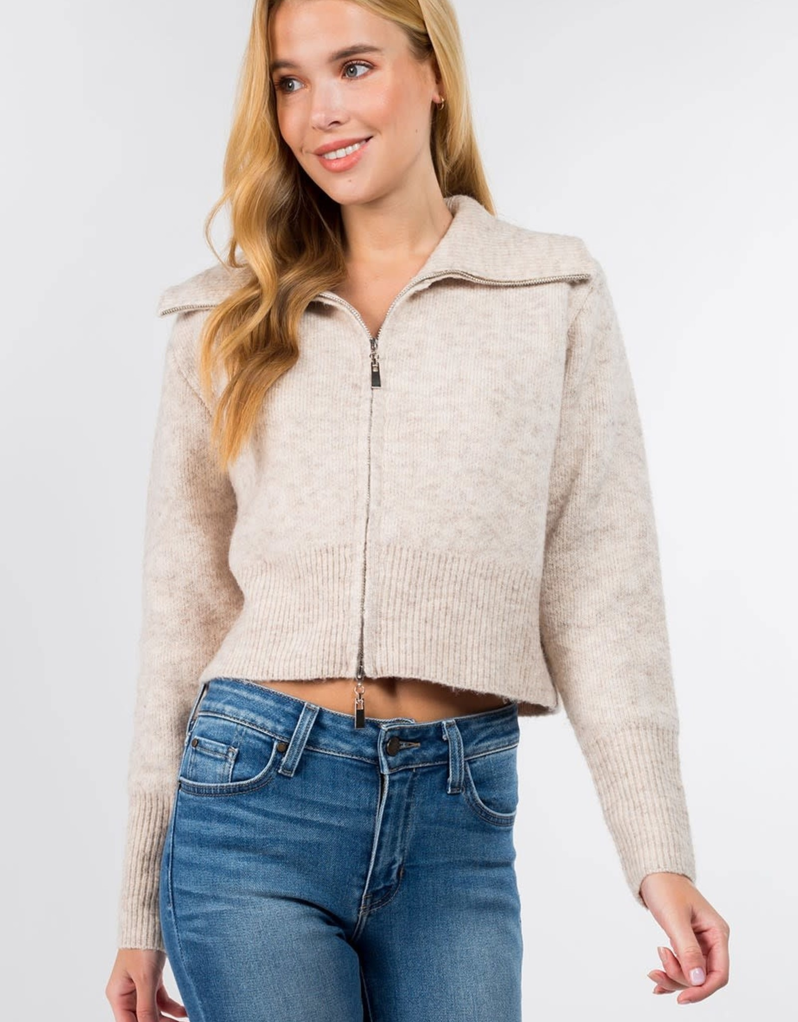 Miss Bliss Zip Up Collared Pullover- Taupe