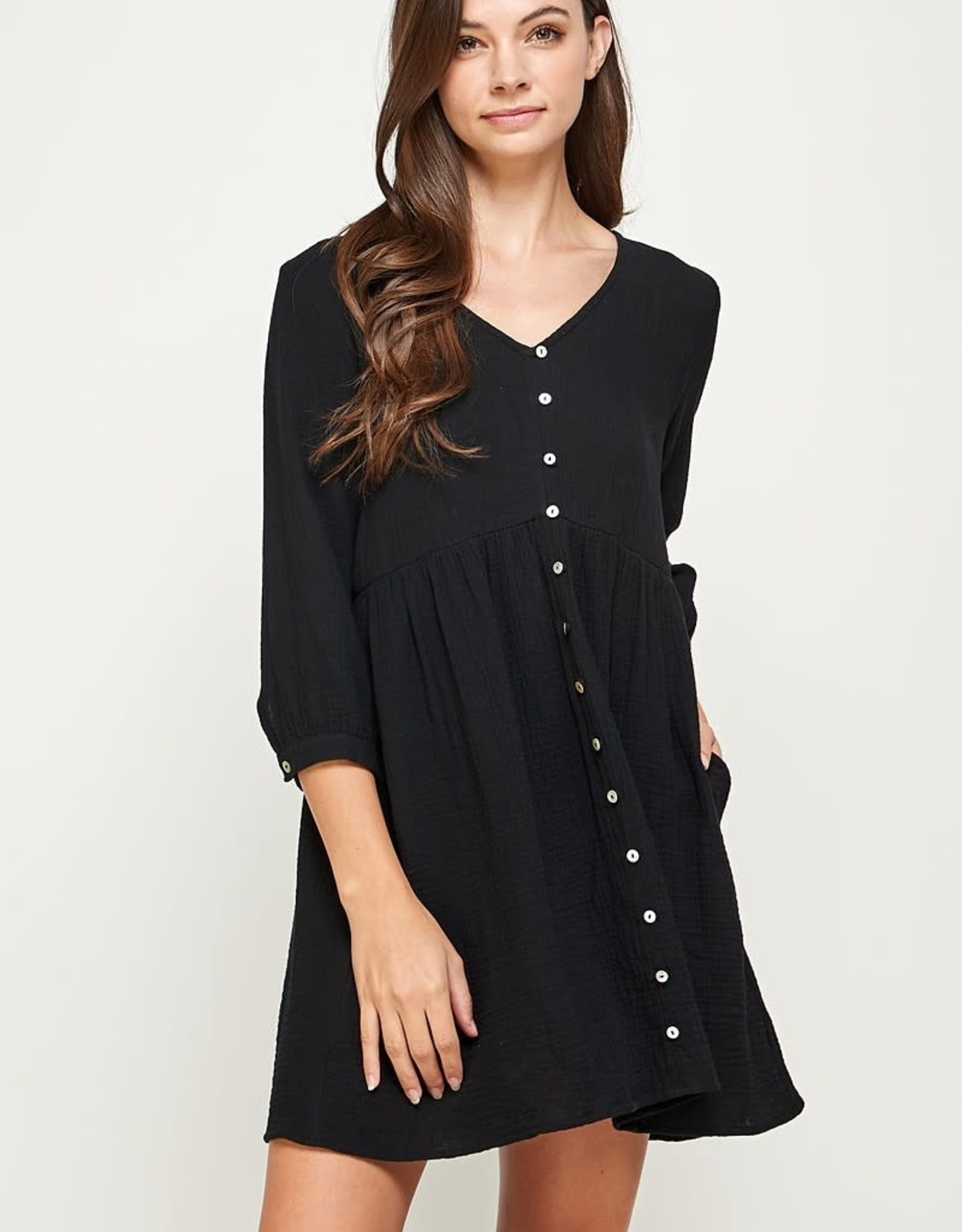 Miss Bliss Solid LS V Neck Dress- Black