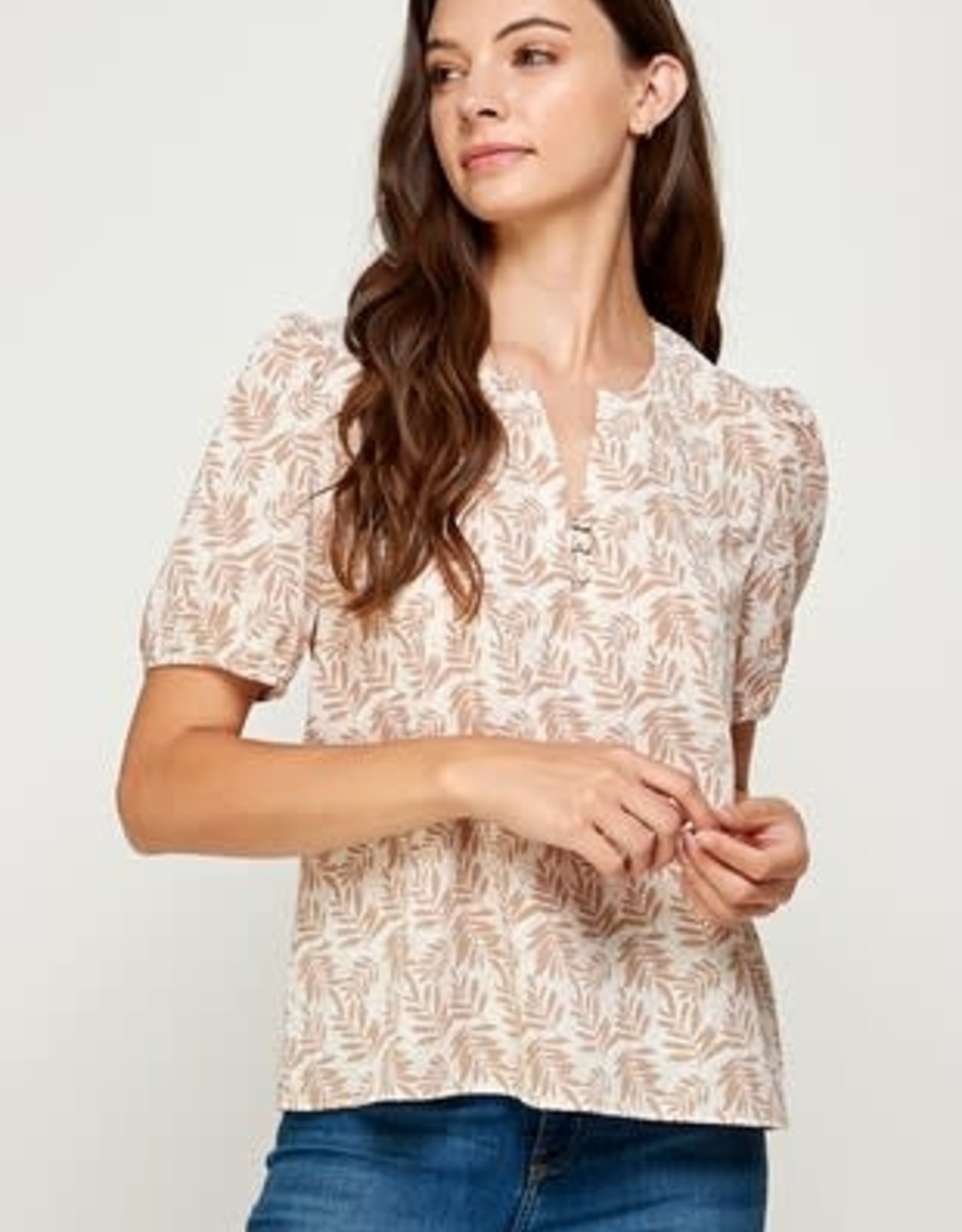 Miss Bliss Pintuck Folded Cuff Top- Ivory