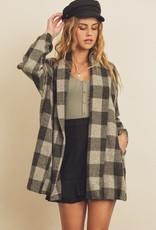 Miss Bliss Plaid Open Front Coat- Charcoal