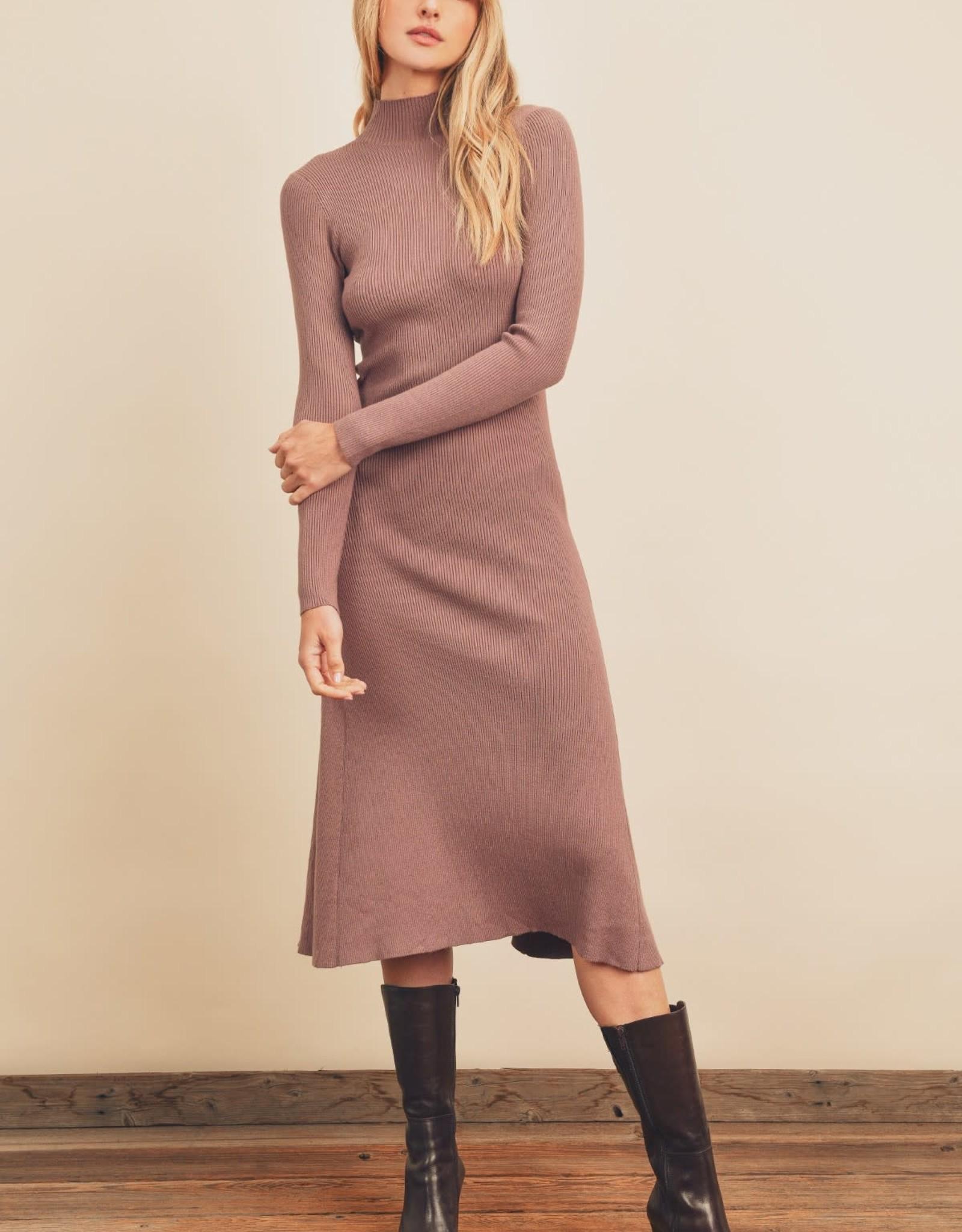 Miss Bliss Turtleneck Flared Midi Dress- Mauve