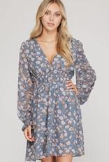 Miss Bliss Shirring Waist LS Floral Dress- Blue