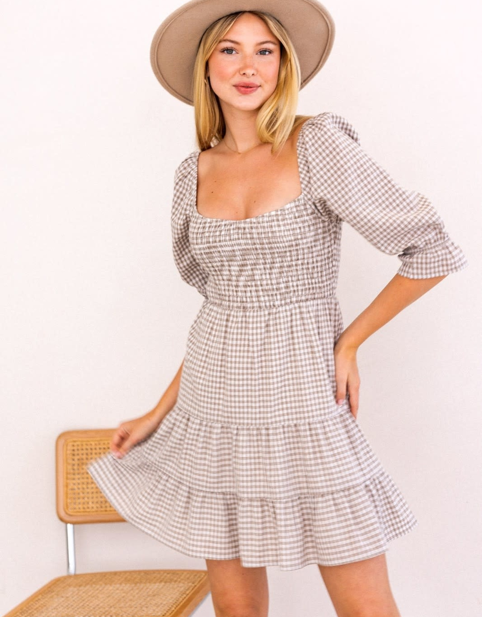 Miss Bliss Smocked Top Tiered Dress- Taupe