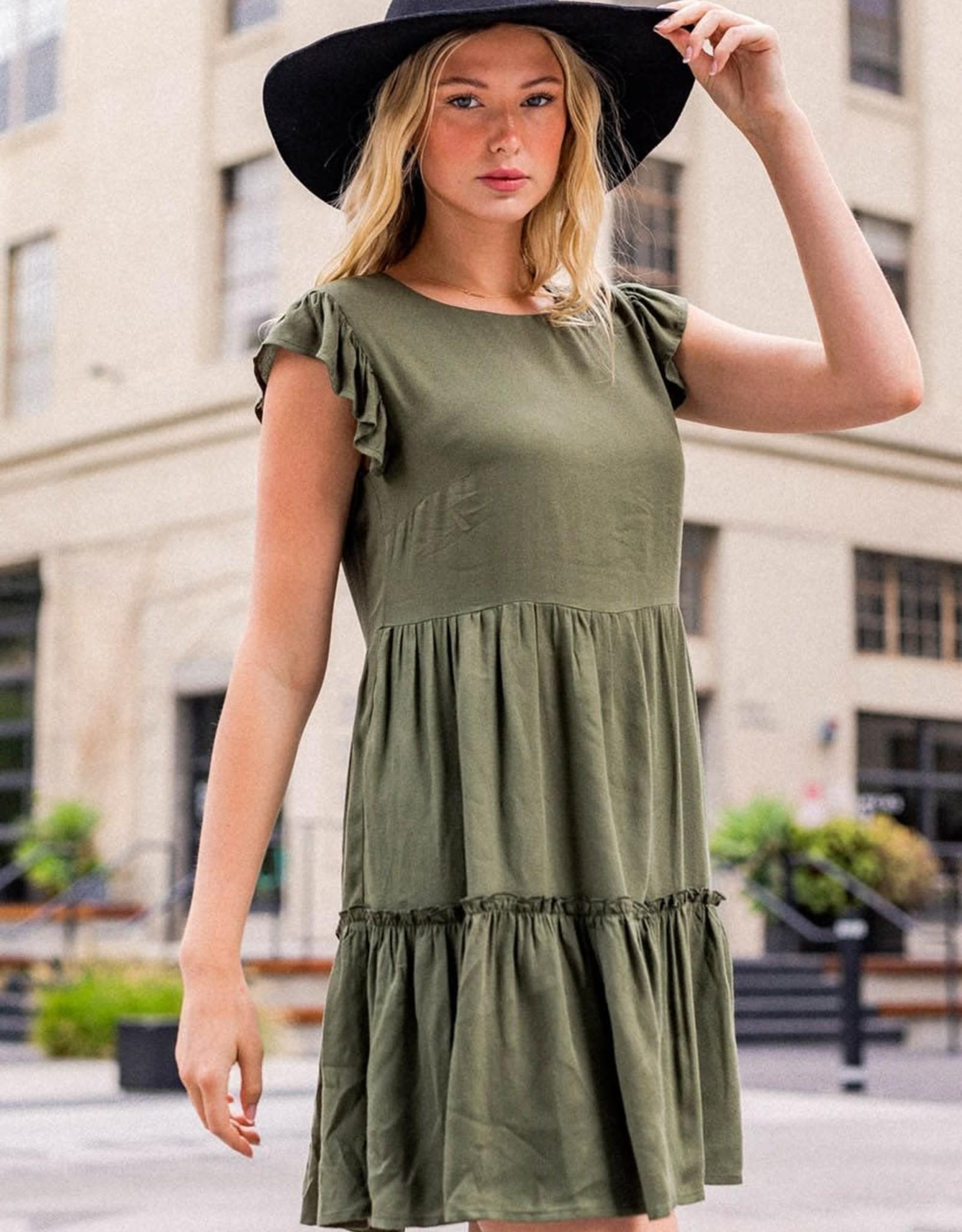 Miss Bliss Tiered Mini Dress- Olive