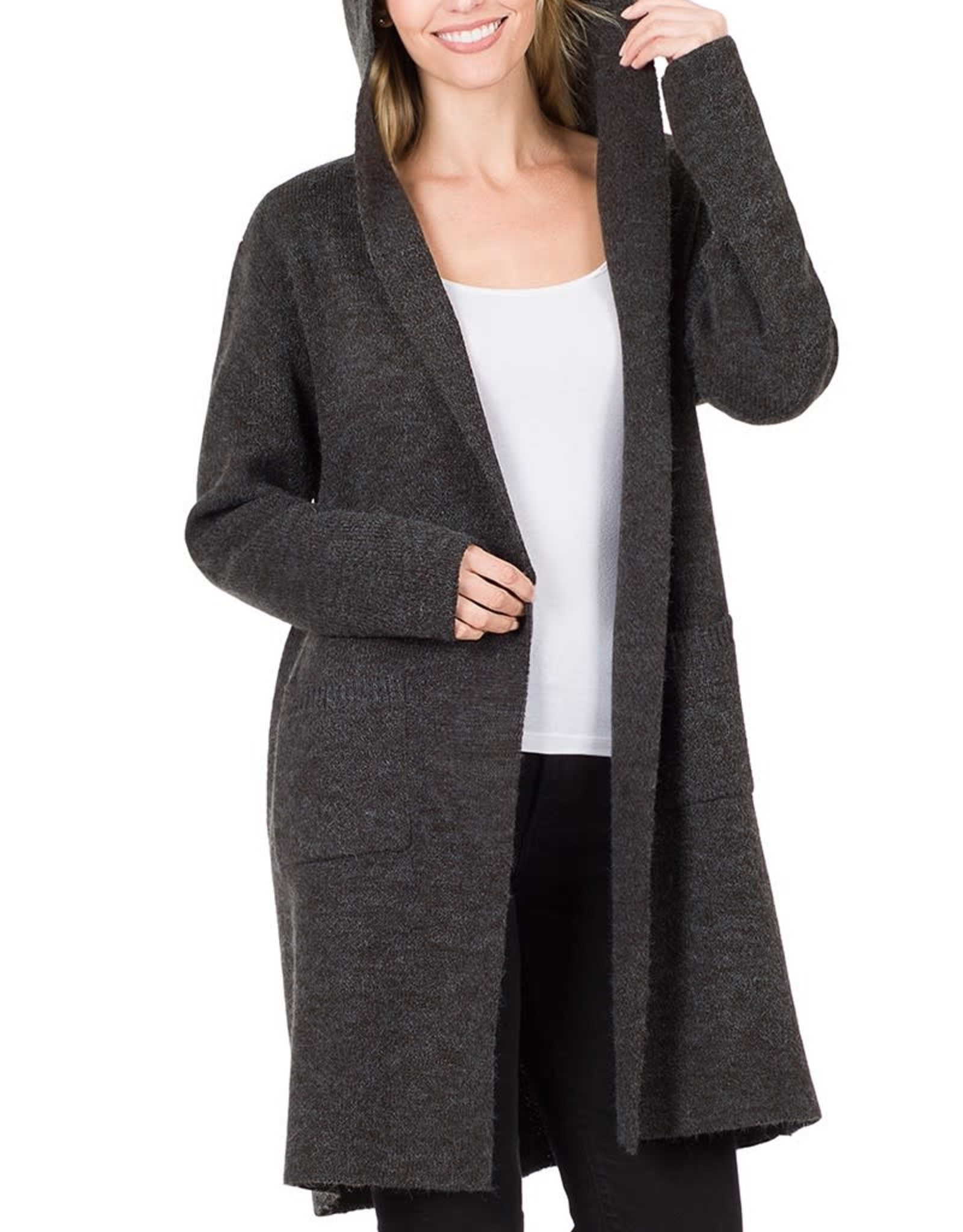 Miss Bliss Hooded Open Front Cardigan-