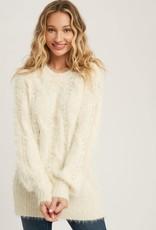 Miss Bliss Fuzzy Tunic Sweater- Cream