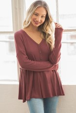 Miss Bliss Waffle Peplum Top- Red Brown