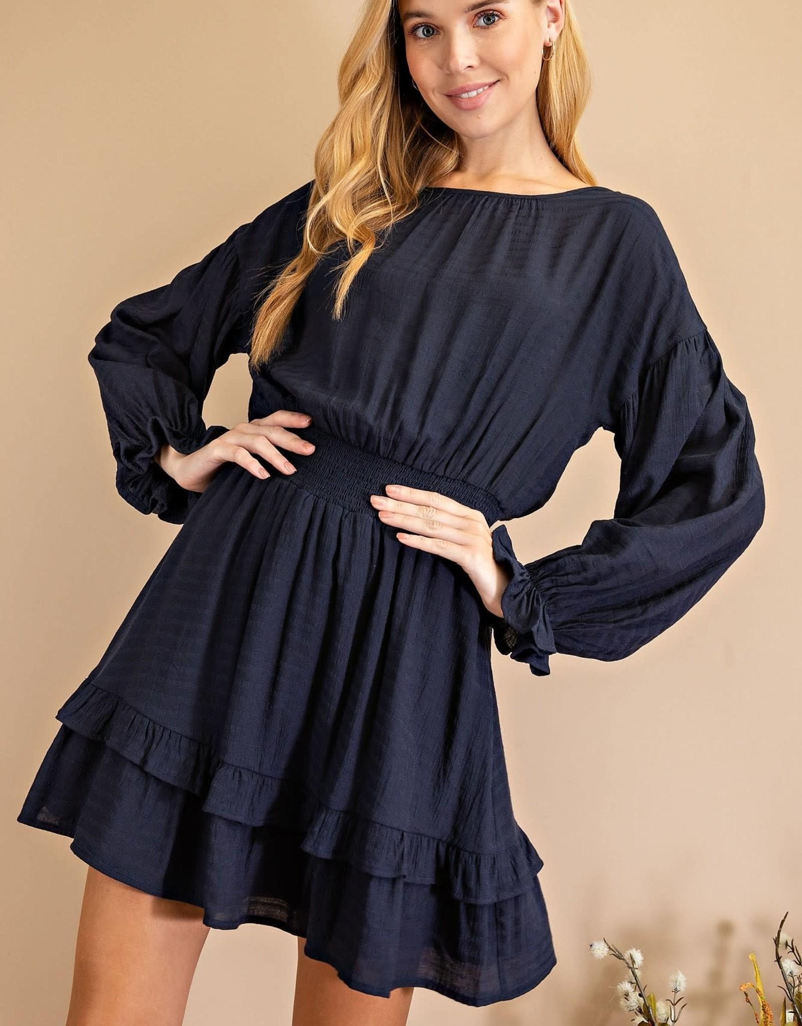 Miss Bliss Solid LS Dress- Navy