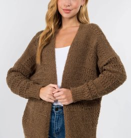 Miss Bliss Pointelle Open Cardigan- Olive