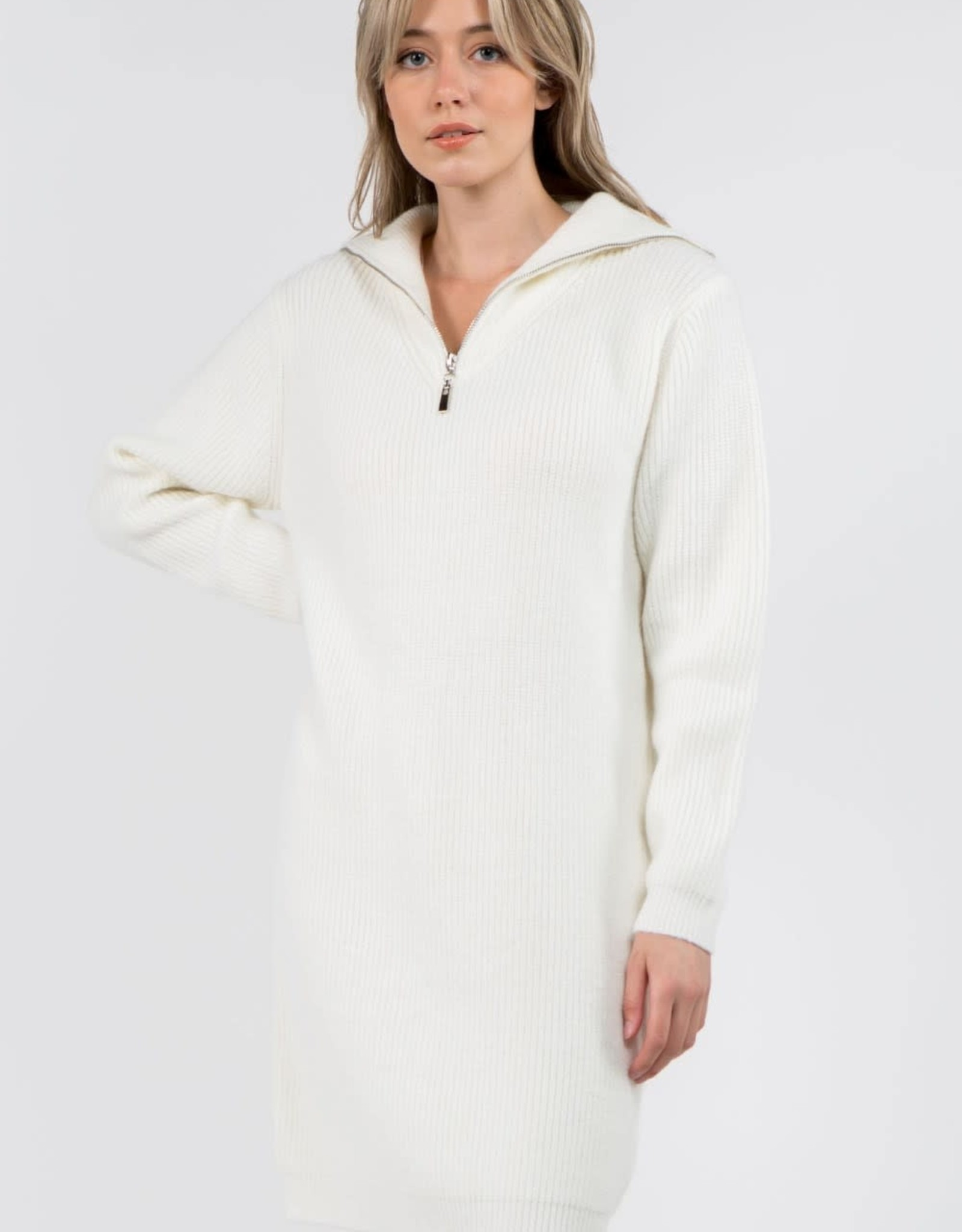 Miss Bliss LS Collared Dress- Ivory