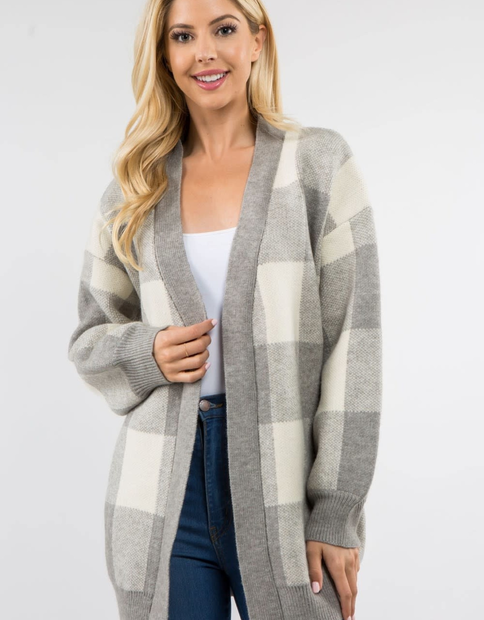 Miss Bliss Checkered Open Cardigan- Grey