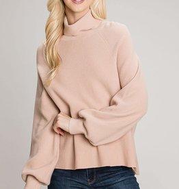 Miss Bliss Turtleneck Knit Top- Blush
