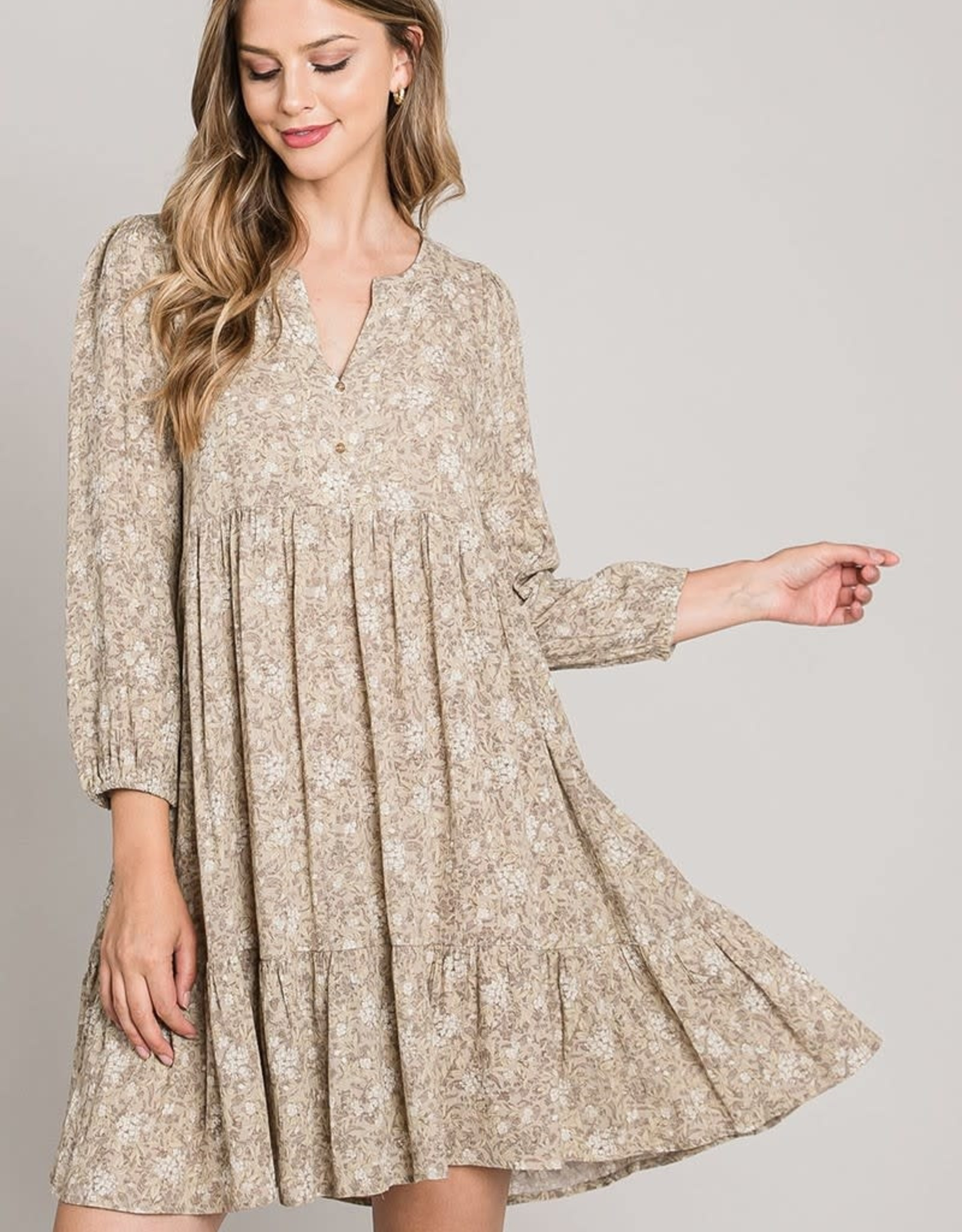 Miss Bliss LS Flowy Floral Print Dress- Taupe