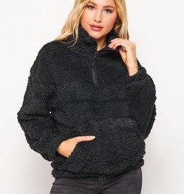 Miss Bliss Fur High Neck Zip Up Pullover-