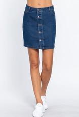 Miss Bliss Denim Button Down Skirt- Denim