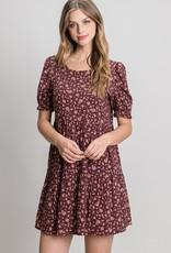 Miss Bliss SS Floral Print Dress- Wine