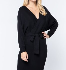 Miss Bliss Wrap Cut Out Waist Tie LS Dress-